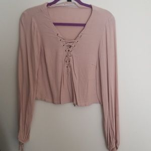 Forever 21 Cropped Long sleeve Cross tie Top